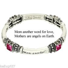 Mom Is Word for Love, Mother Is Angel on Earth Pink Gift Stretch Bracelet #315-E