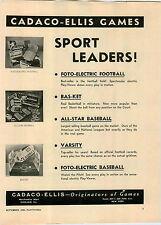 1949 PAPER AD Cadaco Ellis Sport Board Games Foto Electric Baseball Bas Ket Foot