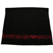 EMPORIO ARMANI EA7 Serviette de plage noir logo rouge Telo Mare de bain 170 x 100 cm