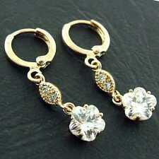EARRINGS DROP HOOP GENUINE REAL 18K YELLOW G/F GOLD DIAMOND SIMULATED DESIGN