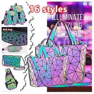 丨丨丨Drawstring Holographic Bagpack Female Luminous Geometric Backpack for Teenage