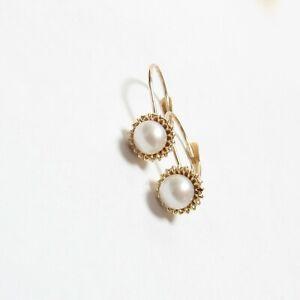 Estate 14K Yellow Gold 4.8 mm Saltwater Cultured Akoya Pearl Drop Earrings