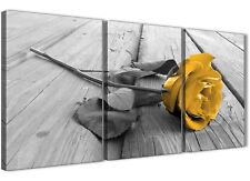 3 Piece Mustard Yellow Grey Rose Flower - Bedroom Canvas Wall Art- 3454 - 126cm