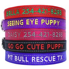 Super Reflective Red Personalized Dog Collar With Monogram Embroidery