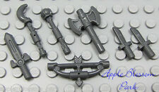 NEW Lego Lot/7 Gray CASTLE WEAPONS - Minifig Axe Sword Knife Bow Arrow Tool Set
