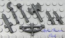 NEW Lego Lot/7 Gray CASTLE WEAPONS - Minifig Axe Sword Knife Bow Arrow Tool Set