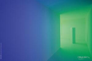 "CARLOS CRUZ DIEZ -Chromosaturation Poster Inside Green Room 60x40 cm/23.6""x15.7"""