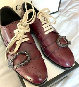 GUCCI MENS QUEERCORE MAROON LEATHER BUCKLED OXFORD SHOES 496266  Gucci 10  US 11