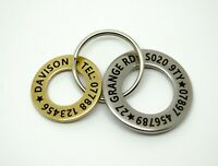 Personalised Pet Dog ID Name Tag Tags Disc washer - Stainless steel  and Brass