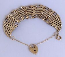 Beautiful Vintage 1970's 9ct Gold 8 Bar Gate Bracelet UK Hallmarked London 16.2g
