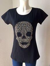 Luxus Glitzer Shirt Straß Gold Silber SKULL ☠️ Schwarz Gr. M 38 Neu mit Etikett