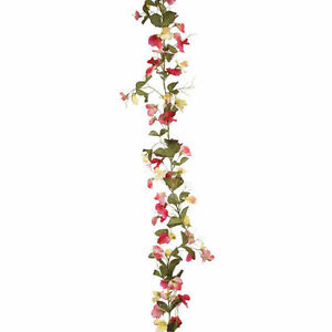6ft artificial silk Sweetpea garland Spring flowers Pink / Yellow decoration