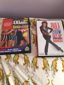 Set of five exercise/dance/sporTs DVDs, lightly used,  Very good