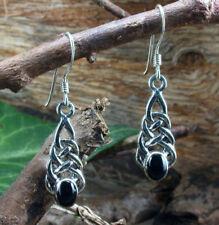 925 Sterling Silber, Keltischer Ohrschmuck mit Onyx, schwarz, Ohrhänger,Ohrringe