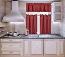 3-PC Blackout Insulated Kitchen Curtain Set Rod Pocket Light Blocking Drapes  K3