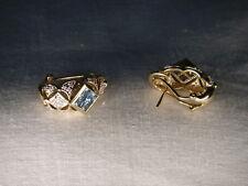Gorgeous Estate 14K Yellow Gold Blue Topaz Diamond Filigree Huggie Earrings