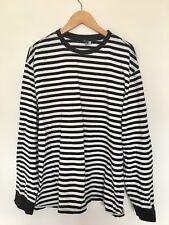 H&M Mens Stripe Top | Long Sleeve T-Shirt | H M | Size L | Black White