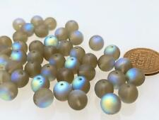Vintage Czech 8mm Fire Polished Frosted Glass Beads 24