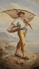 large vintage original signed Norai fisherman figural collector plate painting