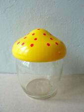 petit pot en verre, bocal, couvercle forme champignon, vintage Solmaz Mercan