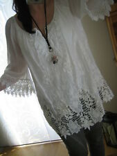 NEU Italy Häckel Tunika Bluse Ibiza Style One Size 40 42 M L Weiß Blogger chic