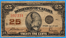 25 Cents 1923 Dominion of Canada Shinplaster Note DC-24c - Very Good
