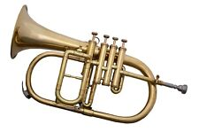 New Top Great New-Bb-4-Valve-Flugel-Horn-BRASS FINISH--Free-HARD-Case-M-P