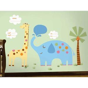 JUNGLE ANIMALS WALL DECALS Elephant Giraffe Palm Tree Stickers Baby Decor