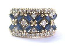 Fino Gema Zafiro Azul & Diamante Oro Amarillo Anillo Ancho 1,65 CT 14k