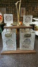 New listing Decanters Heavy Cut Glass Diamond Pattern Rye Scotch metal
