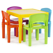 Kids Plastic Table 4 Chairs Set Toddler Play Room Furniture Art Craft Day Care
