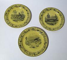3 Teller ocker Umdruck  Steingut um 1840 JAGD plate transferware VAUDREVANGE ?