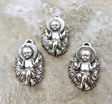 Three (3) Pewter Charms- BABY JESUS in a MANGER - 5143