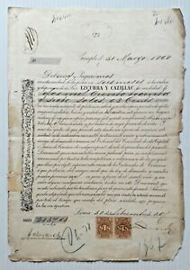 PERU scarce revenue pair 1866 on private loan bond 2137 at 1% in silver or gold