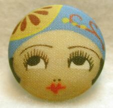 "1920s Flapper Girl Button Hand Printed Fabric "" Amy """