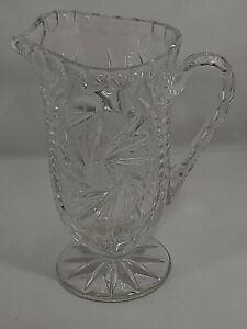 Cut Glass VTG Water Pitcher Pedestal Foot Swirl Star/Fern Leaf Cut Pattern