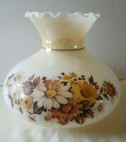 Floral Glass Hurricane Lamp Shade Globe Vintage Gone With Wind 6 3/4""