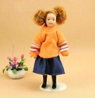 1:12 Dollhouse Miniature Doll Standing Porcelain Doll Girl With Orange Sweater ♫