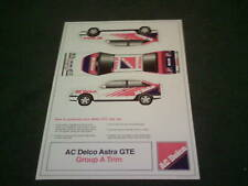 1988 AC DELCO Vauxhall ASTRA GTE RALLY CAR LARGE CUT OUT CARD MODEL BROCHURE