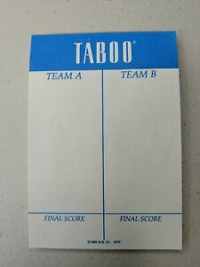 Taboo 1989 Scorepad Excellent Condition Missing 1-2 sheets