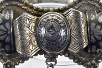WOW! Mega rare antique Ottoman military Pasha Generals Silver&Niello Tughra belt