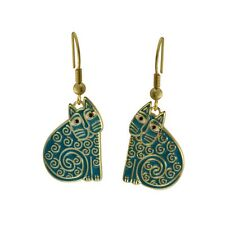 Laurel Burch Jewelry ~ Teal Green Jubilee Cat #5035 Gold Tone Drop Earrings NWT