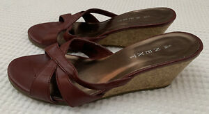 Ladies Next Size 5 - Burgundy Leather Sandals