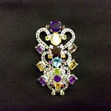Beautiful Floral Broach and Pendant Sterling Silver 925 Semi Precious Stones 004