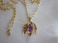 Estate 14K Gold Pendant W. Amethyst & 14K Italy Chain 24""