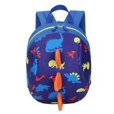 Kids Travel Backpack Cartoon Dinosaur Anti-lost Nylon Schoolbag (Dark Blue)