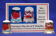 Valentines Day Victorian  Boxed Set of 2 China Thimbles + Keepsake Card B/127