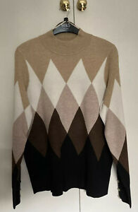 M&S Brown Mix Argyle Jumper With Sleeve Detail 14 New With Tags 🔶🔶🔶