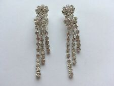 Argento Diamante Lungo Dangle Orecchini a Clip con Nappa Cristallo non Pierce UK E148