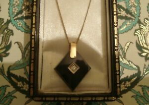 Beautiful Antique Edwardian: Sparkling Diamonds & Jet 9CT Gold Pendant, & Chain